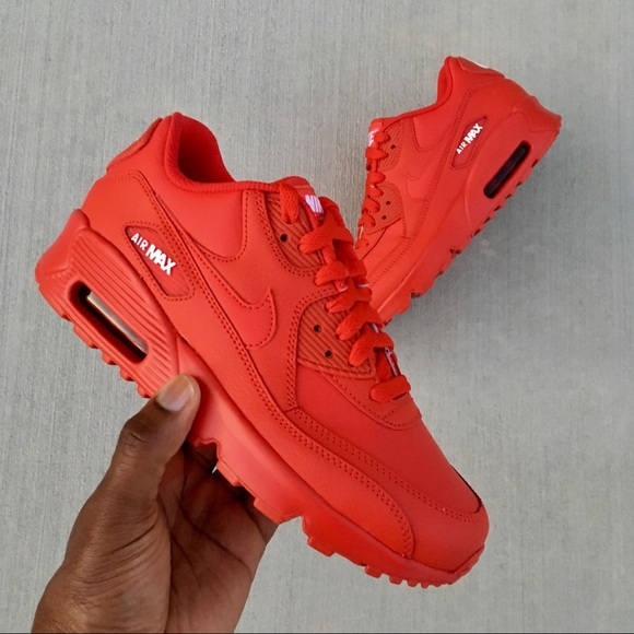 NIKE AIR MAX 90 RED GS YOUTH GIRLS BOYS NWT